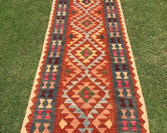 Article # 5373 VEGETABLE DYED Hand Made Chobi Kilim Runner Rug Double Face Design 290 x 82 cm - 9.5 x 2.7 Feet