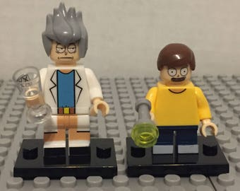 2x Minifigs - Rick and Morty Minifigures | Custom - 100% Compatible | Adult Swim