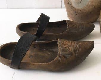 Antique wood clogs 1800s, wooden clog, French folk clogs, French antique wood leather clogs, wooden shoes, French farmhouse decor, Wood clog