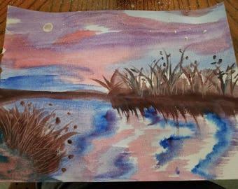 Beautiful grassy sunset Orginal watercolor painting