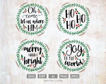 Christmas Wreath Holiday Bundle - Cut File/Vector, Silhouette, Cricut, SVG, PNG, DXF, Clip Art, Download, Calligraphy, Religious, Merry, Joy