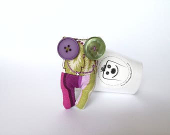 Lavandillo brooch-green, purple and Fuchsia