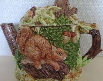 Anne Rowe The Village Squirrels Teapot, Novelty Teapot, Ceramic Teapot, Figurine Teapot, Decorative Teapot, Teapot Collector, Vintage Teapot