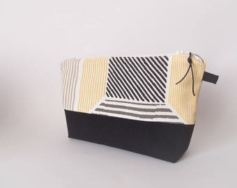 Makeup Kit - Kit toiletry bag - black white grey yellow - striped - large Pocket