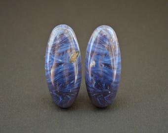 Tengezite (tengizite) natural stone cabochons (pair)  35 х 16 х 4  mm