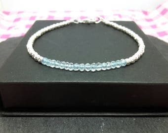 Aquamarine bracelet/aquamarine jewelry/blue gemstone bracelet/march birthstone/hammered bracelet/march bracelet/mothers day gift.