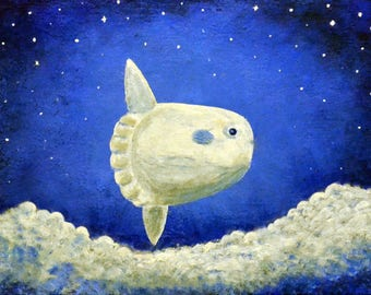 Flying Sunfish, Starry Night, Clouds, Print