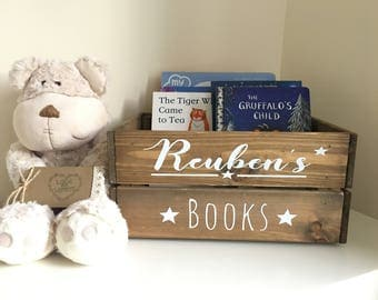Personalised book crate, rustic book crate, nursery decor,children's book crate