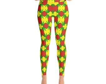 420 Rasta Weed Yoga Leggings, red gold green tights ,hot pants