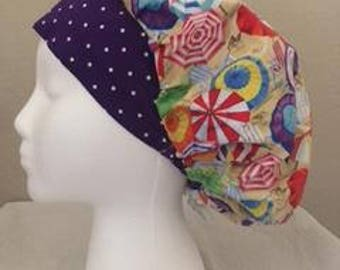 Bouffant Surgical Scrub Hat/ Surgical Hat/ OR Hat/ Chemo Hat- Umbrella Hat/Beach Days