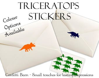 Triceratops Stickers - Removable Vinyl - Birthday Party Invitations  - Thank you Cards - Envelope Sealing Stickers - Planner Stickers #77