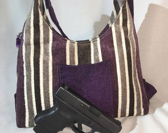 Purple and Taupe Stripe Concealed Carry Purse