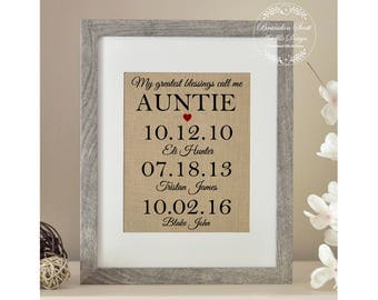 Personalized Auntie Gift, Christmas Gift for Aunt, My Greatest Blessings Call Me Auntie, From Niece Nephew, Auntie Gift, Aunt Gift