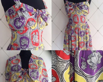 Fabulous Forties Dress and Bolero in a Vibrant Harlequin Style Print  Label:  Blacon UK Size 10 Vintage 40's 1940's