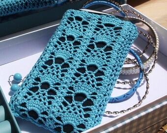 Knit Case Cotton Phone Case iPhone Sleeve Sunglasses Case  Pouch Large Smartphone Wallet Handmade Crochet Cotton Case Glasses Case iPhone 7