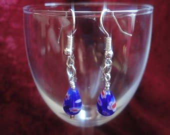Blue Millefiori Glass Teardrop Dangle Drop Earrings - E14