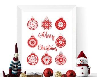 Scandi Christmas Printable | Christmas Baubles Printable Red | Scandinavian Printables  |  Christmas Print | Scandinavian Christmas