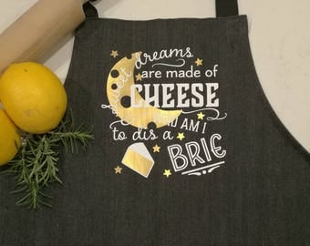 Wine and Cheese Denim Cross-over Bib OR Waist Apron.