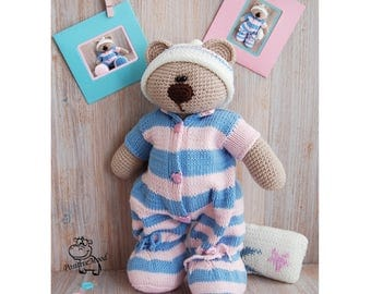 Knitted toy Teddy Bear in pajamas / crohet toy / knitted animals