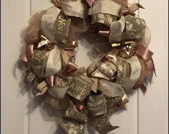 Christmas Ribbon Wreath Christmas Decoration rose gold cream gold door wreath door decoration