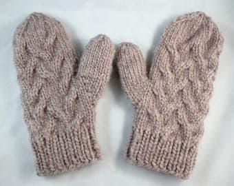 Cable knit mittens, Beige knit mittens, Handmade winter mittens, Women's knit mittens