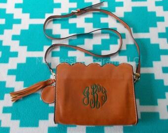 Monogrammed Scalloped Shoulder Crossbody Bag, Monogrammed Scalloped Shoulder Crossbody Clutch, Monogrammed Scalloped Clutch,  Shoulder Bag