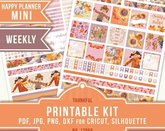 MINI HAPPY PLANNER November, Mini Planner Stickers, Weekly Planner Kit, Thanksgiving Planner Stickers, Printable Planner Stickers, 17050