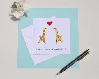 Origami Double Giraffe Greetings Card