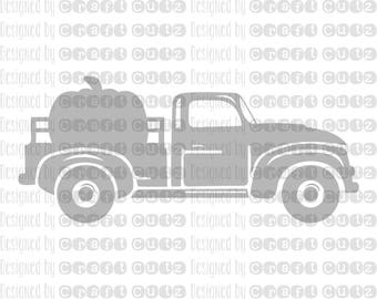 Pumpkin Farm Truck - Fall SVG - Old Truck - Vector Files - Silhouette Cut Files - Cricut Cut Files - SVG