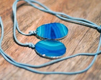 Tiffany Blue Agate Necklace, Trimmed in Electroplated Silver