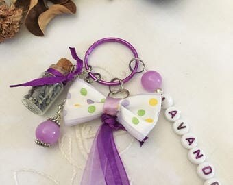 bag charm, Lavender Purple, with ribbons, bottle, color key