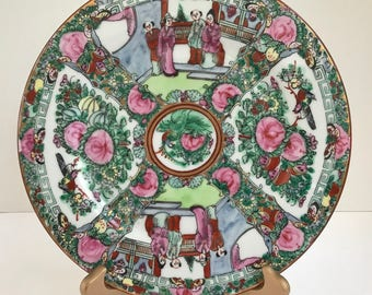 """Vintage Japanese  C.F. Porcelain Ware 10"""" Plate Decorated in Hong Kong"""