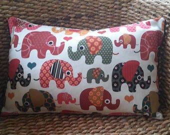 Nursery cushion cover-children's elephant cushion cover-children's cushion cover-elephant pillow-beaded cushion cover