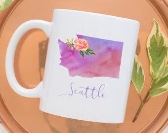 Seattle Coffee Mug | Washington State Mug | City Mug | Location Mug | Gift for Her | Moving Gift | Seattle Gift | Home Mug | Seattle WA