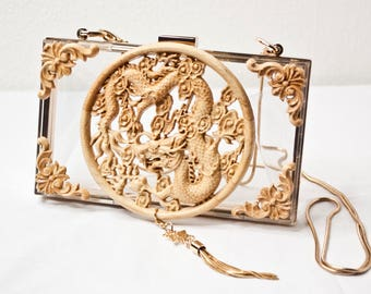 Transparent Wood Chinese Dragon Handbag