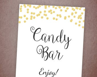 Candy Bar Sign, Wedding Candy Buffet Sign Printable, Wedding Dessert Table Sign, Candy Table Signs, Gold Confetti Party Decor, A001