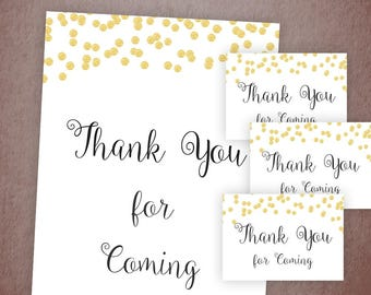 Thank You For Coming Sign and Cards, Bridal Shower Favors, Gold Confetti, Thank You Note, Wedding Signs, Table Card,Printable Sign A001