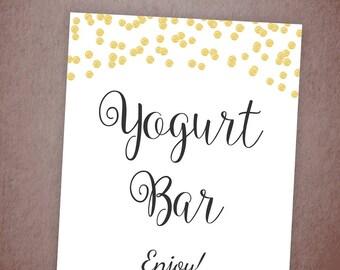 Yogurt Bar Sign Printable, Gold Confetti Dessert Sign, Yogurt Bar Signage, Bridal Shower Party, Wedding Shower, Instant Download, A001