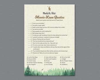 Woodsy Movie Love Quotes Bridal Shower Games, Moss Trees, Film Quote, Bachelorette, Wedding Shower, Famous Quotes, Instant Download, A010