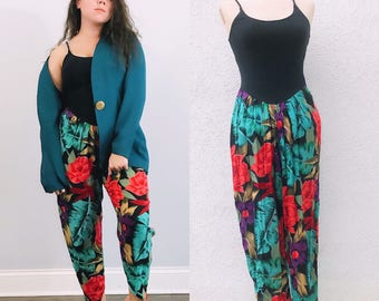 Vintage Floral Summer Jumpsuit. Tropical Floral Jumpsuit.