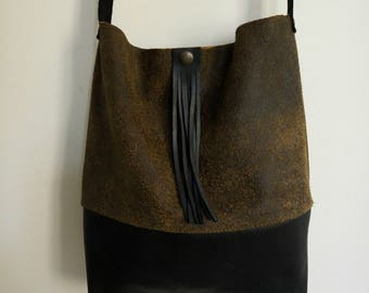 Brown black soft leather handbag / tote handmade with small clutch inside that can be removed and use separately  :)