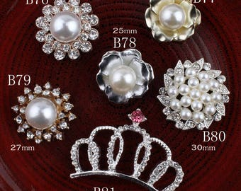 Vintage Crown/round/flower Metal Rhinestone Buttons Bling Flatback Flower Centre Crystal Buttons for Hair accessories