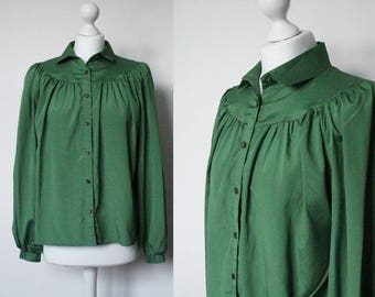 Vintage 70s emerald green blouse