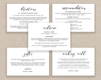 Enclosure Cards Template, Wedding Detail Cards, Accommodation Card, Directions Card Printable, Editable Detail Card Wishing Well - KPC01_104