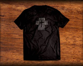 Black, rhinestone cross t-shirt
