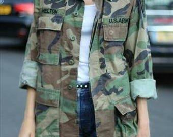 80s Oversized Camo Jacket Authentic Military Issued Field Jacket Size M Medium Regular