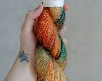 """35% Mohair, wool hand dyed wool. """"Succulent"""""""