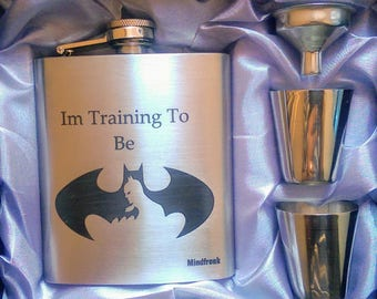 Training To Be Batman Custom Edition // Engraved Flask // His Gift  // Fun Flask // Party Favors // Men Flask // 21st Birthday Gift // 7 oz