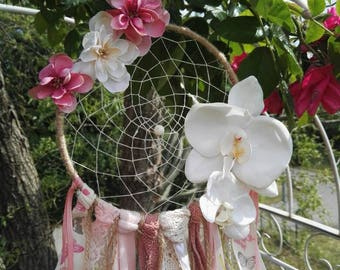 Dream catcher in the vintage style flowers Butterfly