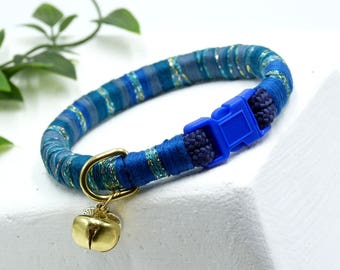 Cat collar, kitten collar, small dog, puppy collar, unique collar, quick release buckle, breakaway safety buckle bell and charm.